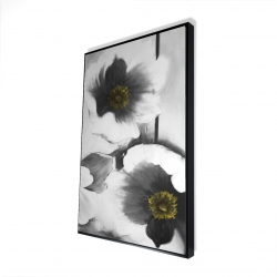 Framed 24 x 36 - 3D - Black and white flowers