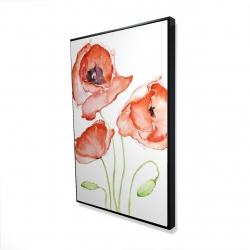 Framed 24 x 36 - 3D - Watercolor poppies