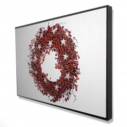 Framed 24 x 36 - 3D - Red berry wreath