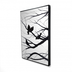 Framed 24 x 36 - 3D - Birds and branches silhouette