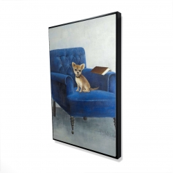 Framed 24 x 36 - 3D - Chihuahua on a blue armchair