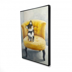 Framed 24 x 36 - 3D - Long-haired chihuahua on a yellow armchair