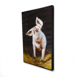 Framed 24 x 36 - 3D - Happy pig