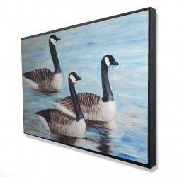 Framed 24 x 36 - 3D - Canada geese in water