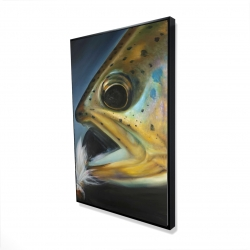 Framed 24 x 36 - 3D - Golden trout with fly fishing flie