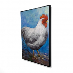 Framed 24 x 36 - 3D - Grey rooster