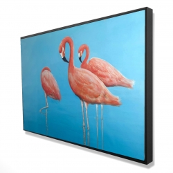 Framed 24 x 36 - 3D - Group of flamingos