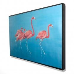 Framed 24 x 36 - 3D - Four flamingos
