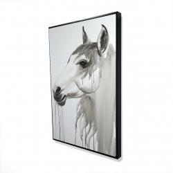 Framed 24 x 36 - 3D - Beautiful white horse