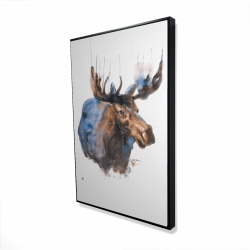Framed 24 x 36 - 3D - Abstract blue moose