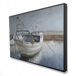 Framed 24 x 36 - 3D - Blue fishing boat