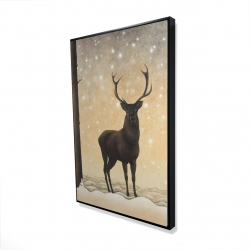 Framed 24 x 36 - 3D - Roe deer in winter