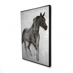 Framed 24 x 36 - 3D - Abstract brown horse