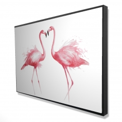 Framed 24 x 36 - 3D - Two pink flamingo watercolor