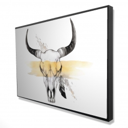 Framed 24 x 36 - 3D - Cow skull with feather
