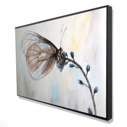 Framed 24 x 36 - 3D - Butterfly on blue flowers