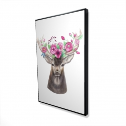 Framed 24 x 36 - 3D - Deer head with flowers