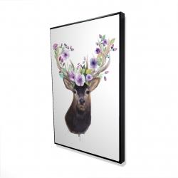 Framed 24 x 36 - 3D - Roe deer head with flowers
