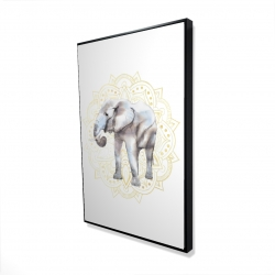 Framed 24 x 36 - 3D - Elephant on mandalas pattern