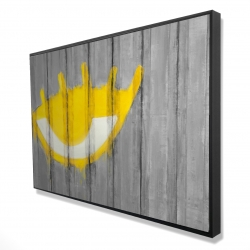 Framed 24 x 36 - 3D - Yellow eye graffiti on a container