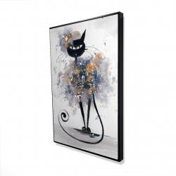 Framed 24 x 36 - 3D - Cartoon black cat