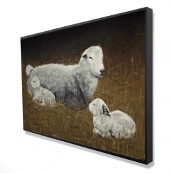 Framed 24 x 36 - 3D - Sheep and lambs