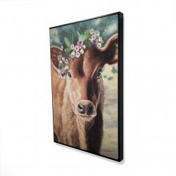 Framed 24 x 36 - 3D - Cute jersey cow