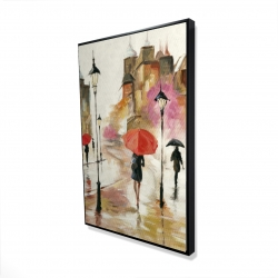 Framed 24 x 36 - 3D - Passersby under their umbrellas