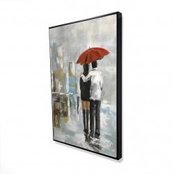 Framed 24 x 36 - 3D - Couple walking under their umbrella