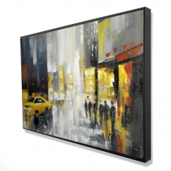 Framed 24 x 36 - 3D - Rainy busy street