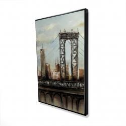Framed 24 x 36 - 3D - City bridge by a cloudy day