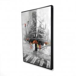 Framed 24 x 36 - 3D - Greyish flatiron building