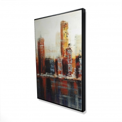 Framed 24 x 36 - 3D - Abstract red cityscape