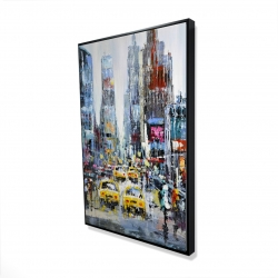 Framed 24 x 36 - 3D - Urban scene with yellow taxis
