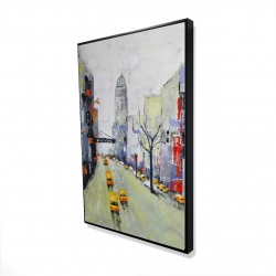 Framed 24 x 36 - 3D - Gray street with yellow and red accents