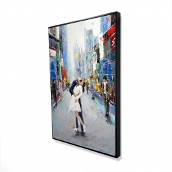 Framed 24 x 36 - 3D - Kiss of times square