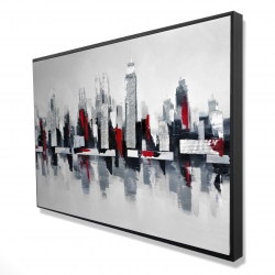 Framed 24 x 36 - 3D - Gray and red cityscape