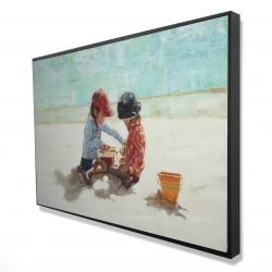 Framed 24 x 36 - 3D - Little girls at the beach