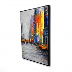 Framed 24 x 36 - 3D - Color spotted street with taxis