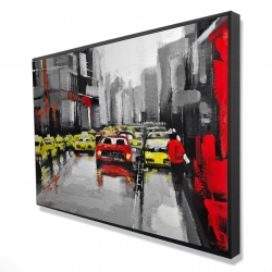 Framed 24 x 36 - 3D - Abstract traffic by a rainy day