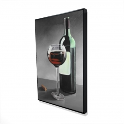 Framed 24 x 36 - 3D - Bottle of burgundy
