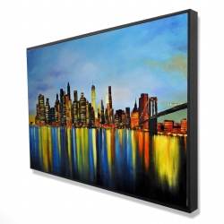Framed 24 x 36 - 3D - City by night with a bridge