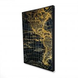 Framed 24 x 36 - 3D - Blue and marine world map globe