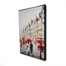 Framed 24 x 36 - 3D - European street by a rainy day