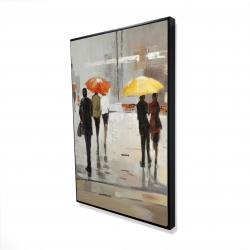 Framed 24 x 36 - 3D - Abstract passersby with umbrellas