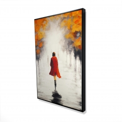 Framed 24 x 36 - 3D - Woman with a red coat by fall
