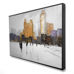 Framed 24 x 36 - 3D - Silhouettes walking towards the city