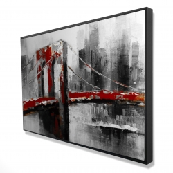 Framed 24 x 36 - 3D - Abstract and red brooklyn bridge