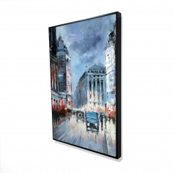 Framed 24 x 36 - 3D - Abstract red and blue city