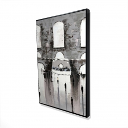 Framed 24 x 36 - 3D - Gray building with passersby